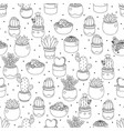 cute doodle line art cactus and succulent on dot vector image
