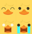 cute yellow duck emotion face set vector image vector image