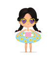 dark hair girl wearing sunglasses in inflatable vector image vector image