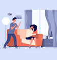 domestic violence man screams at woman girl vector image vector image