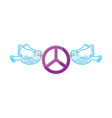 doves flying with peace symbol isolated icon vector image vector image