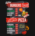 fast food menu vector image