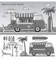 food truck on beach line monochrome vector image vector image