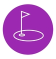 Golf hole with flag line icon vector image vector image