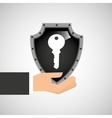 hand holding key security shield data vector image