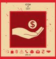 hand holding money - dollar symbol vector image vector image