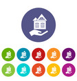 home protection icons set color vector image