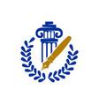 law justice firm pillar pen leaf logo design vector image vector image