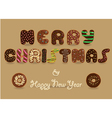 Merry Christmas Chocolate Donuts font vector image vector image