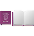 open and closed violet book with turtle vector image