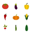 Orchard vegetables icons set flat style vector image vector image