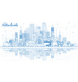 outline netherlands skyline with blue buildings vector image vector image