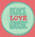 Peace Love Music emblem vector image