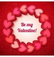 Pink 3d hearts Valentines card vector image vector image