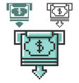 pixel icon atm cash withdrawal in three vector image vector image