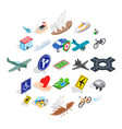 safe transport icons set isometric style vector image vector image