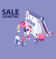 sale isometric artwork of people shopping clothes vector image