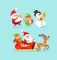 santa claus snowman with elf vector image vector image