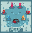 sex shop color isometric concept icons vector image
