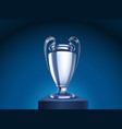 shining silver cup on a stage vector image vector image