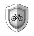 sticker metallic shield with silhouette bicycle vector image vector image