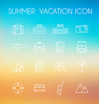 summer icon set on a blurred background beach vector image vector image