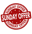 sunday offer sign or stamp vector image vector image