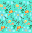 tender blue and green floral summer pattern vector image vector image