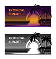 Tropical beach sunset banner
