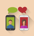 two lovers communicating with mobile phones vector image vector image