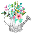 Watercolor flowers and doodle watering can vector image vector image