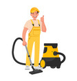 worker cleaning service a man dressed vector image vector image