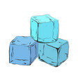 hand drawn blue ice cubes vector image