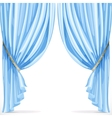 Blue curtain collected in folds ribbon isolated on vector image