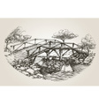 Bridge over river sketch vector image vector image