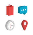 business set isometrics icons vector image