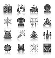 christmas and new year black silhouette icon set vector image
