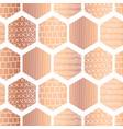 copper hexagon seamless pattern metallic vector image