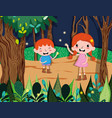 cute kids at forest vector image vector image