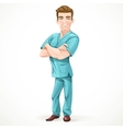 Cute men doctor in a green surgical suit and vector image vector image