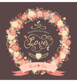 cute wedding invitation with a wreath roses vector image vector image