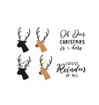 deer head silhouette set christmas reindeer vector image vector image