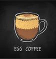 egg coffee chalk vector image