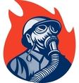 fireman or firefighter wearing vintage gas mask vector image vector image