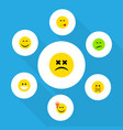 flat icon face set of smile hush have an good vector image vector image
