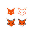 fox head logo design template vector image vector image