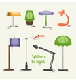 Furniture Floor lamp and table lamps vector image