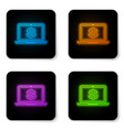 glowing neon laptop with dollar symbol icon vector image vector image