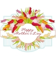 Greeting card with tulips Mothers Day vector image