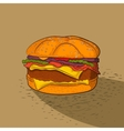 Hand drawn burger Fast food vector image